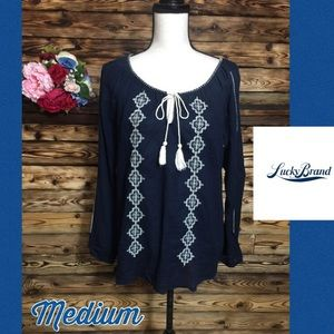 Lucky Brand Navy White Embroidered Peasant Top M